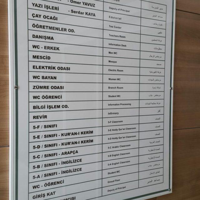 Ofis / Okul / Hastane İsimlik Yönlendirme isimlik ve Tabelaları