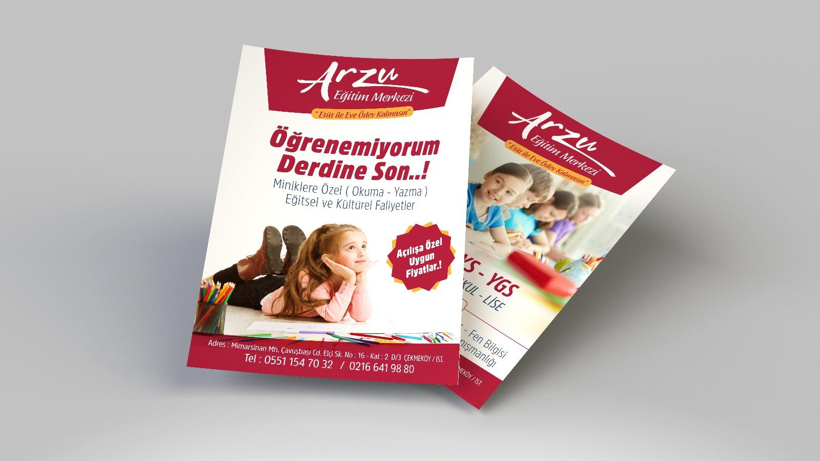 Çekmeköy reklam tasarım ajansı Arzu Eğitim Kurumları Broşür Çalışması