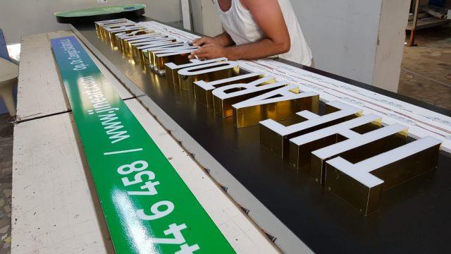 gold (altın Kaplama ) krom harf tabela